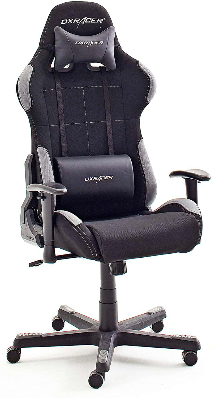 DX Racer 5 Robas Lund - Silla de Escritorio/Oficina/Gaming, con Ruedas, Altura Ajustable, Tapizada, Reposabrazos, Madera, color Negro/Gris, 74 x 52 x 123-132 cm