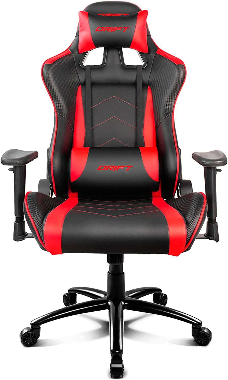 Drift DR150BR - Silla Gaming Profesional, polipiel, reposabrazos ajustable, piston clase 4, asiento basculable, altura regulable, respaldo reclinable, cojines lumbar y cervical, color negro/rojo
