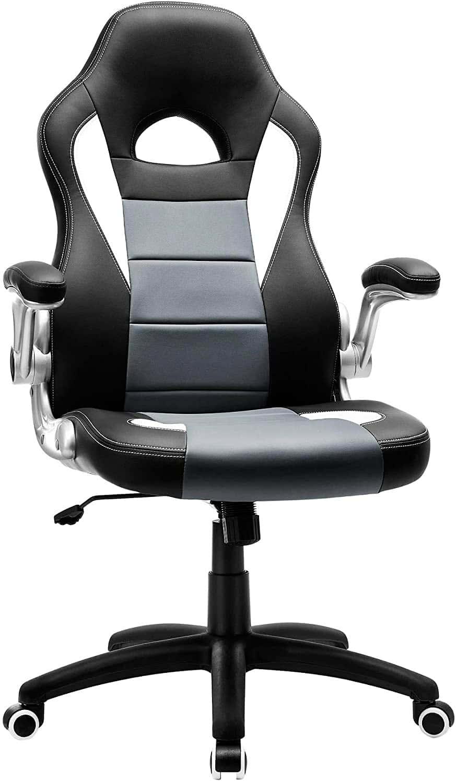 SONGMICS Racing Silla ergonómica para oficina estudio PU Giratoria Regulable 150 kg OBG28G