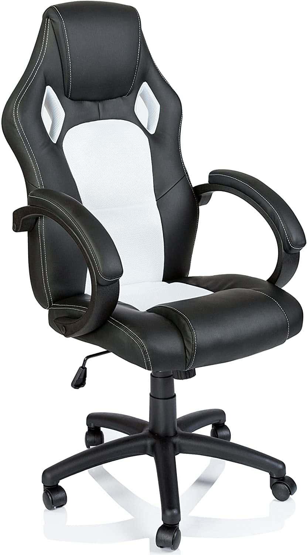 TRESKO Silla giratoria de oficina Sillón de escritorio Racing, silla Gaming ergonómica, cilindro neumático certificado por SGS (Negro/Blanco)